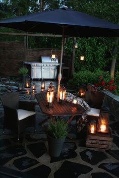 Garden ambiance #partylite #candles #lanterns #bbq #patio