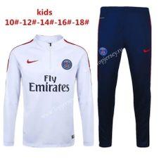 2016-17 Paris SG White Kid/Youth Thailand Soccer Tracksuit