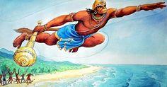 Hanuman met Lord Rama and Lakshmana when they were searching for goddess Sita who had been abducted by Ravana. Their search brought them to the vicinity of the mountain Rishyamukha, where Sugriva and Hanuman were hiding from Vali. Ravana Palace, Hanuman Chalisa, Hanuman Pics, Sri Rama, Demon King, Pilgrim, World Heritage Sites, Deities, Creative Art