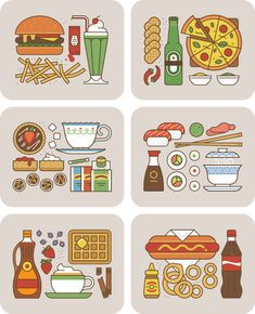 An iconic collection of various food combinations.