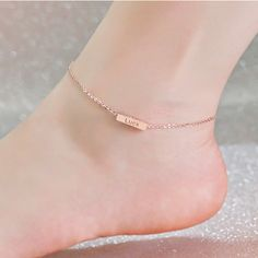 Rose Gold Anklet Custom Word Engraved 4 Sides, Design Bar Name Charm, Personalized Ankle Jewelry, Mom Gift Jewelry Tags, Cute Jewelry, Silver Jewelry, Silver Ring, 925 Silver, Jewelry Bracelets, Sterling Silver, Ankle Jewelry, Ankle Bracelets