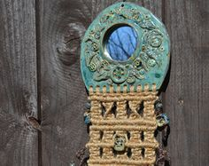 Bohemian Wall Decor // Turquoise Pottery Mirror with Beads and Macrame