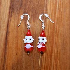 Santa Dangle Earrings by FallingLeafDesigns on Etsy