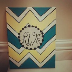 Chevron initial canvas painting