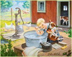 Care of Your Dog - Illustration by Raymond James Stuart Vintage Pictures, Vintage Images, Vintage Art, Decoupage Vintage, Illustrations Vintage, Illustration Art, Animation, James Stuart, Raymond James