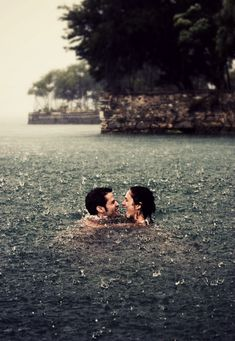swimming in the rain! This is on my bucketlist! beautiful rain photo of couples in the rain Before I Die, Rainy Days, Belle Photo, Cute Couples, True Love Couples, Thing 1, In This Moment, World, Happiness