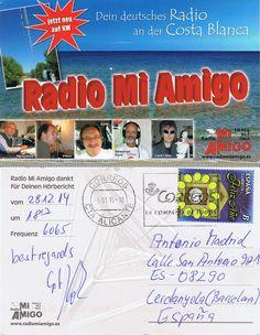 Recibida Tarjeta QSL de Radio Mi Amigo via Sala (Suecia),1813UTC,6065,0 Khz, llegó en 18 días, informe enviado a: info@radiomiamigo.es
