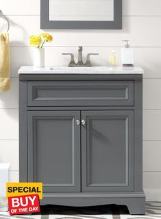 Accanto Contemporary 30 Inch Grey Finish Bathroom Vanity Marble Entrancing Bathroom Vanity 30 Inch 2018