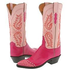 Lucchese Fuchsia and Pink boots pictured here feature a Goat leather vamp with Ostrich wingtips and a Goat leather quarter.