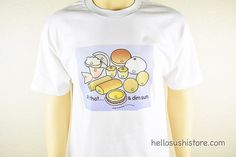 All That & Dim Sum T-Shirt (White)  This is a delightful t-shirt featuring Happy Dim Sum images. The art is original work by Kanagi Design. Artwork is printed and pressed on the front side of the t-shirt.  There is only one of each size available. Please place your order accordingly.  Unisex adult sizes: S, M, L, XL  Material: 100% cotton  -------------------------  Be sure to check more Hello Sushi Store listings for other Dim Sum products and other apparel.  -------------------------  S...