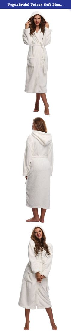 """VogueBridal Unisex Soft Plush Coral Fleece Robe Plus Long Hooded Spa Bathrobe, White M/L. Size Chart: S/M: Length 122cm/48.03"""", Bust 116cm/45.67""""; M/L: Length 126cm/49.61"""", Bust 126cm/49.61""""; L/XL: Length 130cm/51.18"""", Bust 136cm/53.54"""". Lightweight and comfortable. This robe will dry your body up and keep you warm after your shower. The feeling in the robe is definitely comfy and warm. Perfect for lounging around the house. It's perfect to snuggle in on a cold winter night and to put on…"""