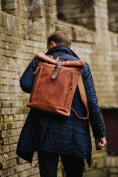 Leather backpack Roll top backpack by Kruk Garage Cognac brown