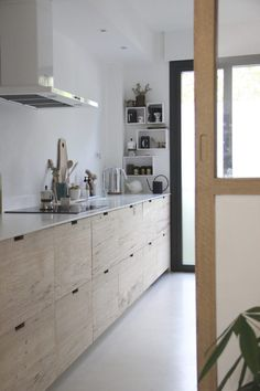 A designer& own Scandi-style Ikea hack galley kitchen in the South of F. - A designer& own Scandi-style Ikea hack galley kitchen in the South of F… – - Kitchen On A Budget, New Kitchen, Kitchen Decor, Kitchen Ideas, Country Kitchen, Ranch Kitchen, 1960s Kitchen, Awesome Kitchen, Kitchen Layouts