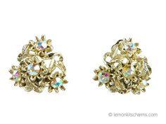 Vintage Pakula Floral AB Rhinestone Earrings by LemonKitscharms