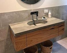 Floating polished concrete charcoal vanity, custom handmade real concrete bathroom or ensuite with hardwood cabinetry and single drawer Concrete Countertops Bathroom, Gray Countertops, Concrete Sink, Vanity Countertop, Polished Concrete, Bathroom Vanity Tops, Wood Bathroom, Downstairs Bathroom, Bathroom Interior