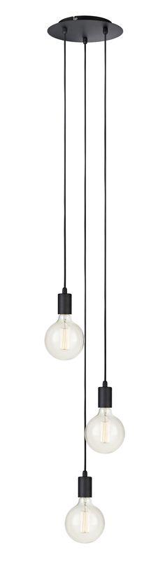 Sky taklampa i metall från Markslöjd. Takrondell i metall med textilklädda 1,5m kablar. Stor lamphållare (E27) Max 60W eller motsvarande i halogen, lågenergi eller LED. Ljuskällor ingår ej.  #taklampa #cellinglight #light #markslöjd # lampa #lamp #light #sky #pendel #