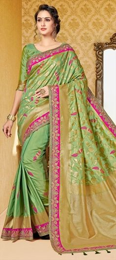2d2475c3923a25 773738 Green color family Silk Sarees in Dupion Silk fabric with Border