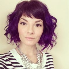 bob with straight bangs curly purple - Google Search