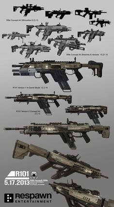 Various concepts for Titanfall digital armory. Some of these made it int Firearms Guns Zombie Weapons, Sci Fi Weapons, Fantasy Weapons, Weapons Guns, Guns And Ammo, Robot Concept Art, Armor Concept, Weapon Concept Art, Sci Fi Waffen