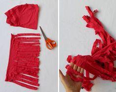 Makkelijk breien: badmat of vloerkleed van t-shirts