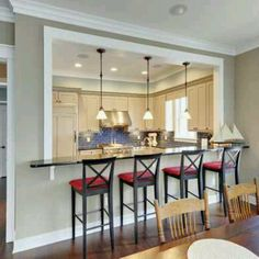 Kitchen open wall between kitchen and dining room can add the extra seating