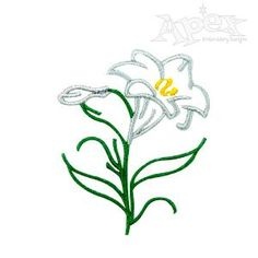 "Easter Lily Embroidery Design. Great design for Easter and spring design. Size: 2.56"" x 2.08"""