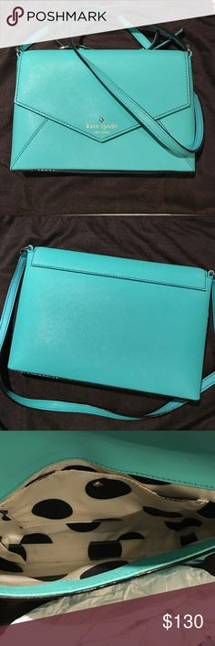 Kate Spade Bright Teal Envelope Crossbody Bag Bright teal crossbody envelope purse similar to Tiffany Blue. When worn on shoulder, top of purse hits by the waist, and strap has five adjustable holes (currently in middle hole). Never used, no tags, no scratches. Still has paper stuffing and dust bag. It just never worked out! kate spade Bags Crossbody Bags