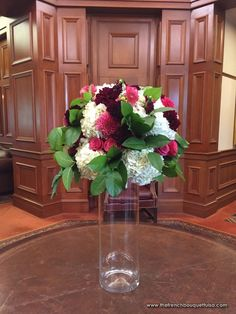 Tall Arrangement in Merlot, Pink, and White with Dahlias, Roses, and Hydrangea - The French Bouquet