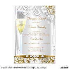 Elegant Gold Silver White Silk Champagne Brunch 5x7 Paper Invitation Card