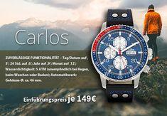 Die im beliebten Chronographen-Stil gefertigte Herren-Automatik-Armbanduhr 'Carlos' stammt aus der exklusiven SELVA-Uhren-Edition. Sie kombiniert ein von präzise ausgearbeiteten Nuancen geprägtes Design mit einem technisch hochwertigen Innenleben – ein echter Hingucker!  Das nachtblaue, von gehärtetem, kratzfestem Mineralglas geschützte Zifferblatt mit Leuchtzeigern, arabischen Ziffern und Chronograph, Design, Pointers, Watches, Scale Model