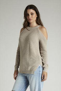 Cold Shoulder Knit - Latte – I.D.S