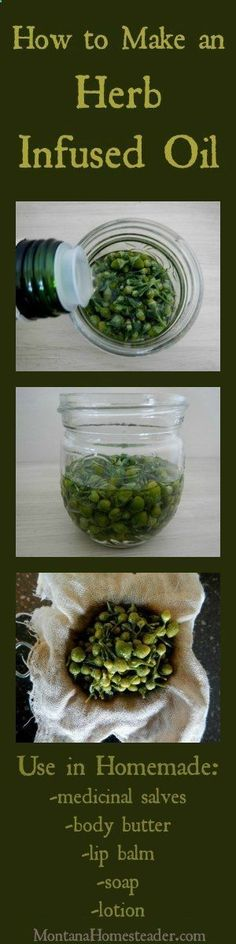 I learned how to make herb infused oil years ago and it is a skill I dont know how I lived without! I use it to make salves, lotion, soap, lip balm, and more!   Montana Homesteader