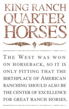 King Ranch Quarter Horses - The West was won on horseback, so it is only fitting that the birthplace of American ranching should also be the center of excellence for great ranch horses.