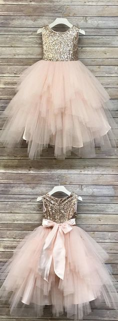Sequin Top Rose gold Flower Girl Dress, Champagne and Ivory flower girl dresses, - wedding nakita - Blush Flower Girl Dresses, Tulle Flower Girl, Little Girl Dresses, Girls Dresses, Pink Tulle, Rose Gold Bridesmaid Dresses, Rose Gold Wedding Dress, Rose Gold Dresses, Wedding Flower Girls