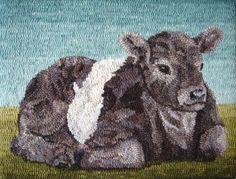 Hooked Rug ... Belted Cow ... Karen Poetzinger
