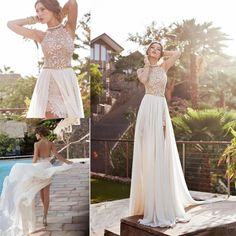 2016 Julie Vino In Stock Summer Beach High Waist Empire Wedding Dresses A Line Chiffon Side Slit Lace Halter Backless Bridal Gowns Cheap Grecian Wedding Dress High Street Wedding Dresses From Longgxlong, $79.15| Dhgate.Com