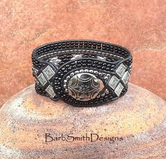 Black Silver Beaded Leather Cuff Wrap Bracelet - The Queen of Diamonds in Black