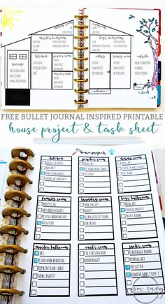 Bullet Journal Printables - Free Bullet Journal Style Printables Bullet Journal Inspired Free Printables from Mom Envy. House projects bullet journal printable and a free task sheet printable. Available in size, Standard letter size, and Happy Planners. To Do Planner, Planner Pages, Life Planner, Blog Planner, House Planner, Arc Planner, Create 365 Happy Planner, Planner Stickers, Printable Planner