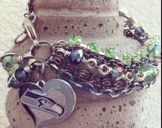 Seattle Seahawks Football Multichain Rhinestone and Crystals Charm Bracelet
