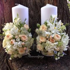 Orchids & roses candles #flowerdipity #event #candle #wedding #baptism #roses #orchids #white #ivory Rose Candle, Pillar Candles, Floral Arrangements, Orchids, Roses, Wedding, Floral Motif, Candles, Valentines Day Weddings