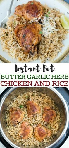 Garlic Herb Chicken and Rice made in the Instant Pot have fluffy buttery rice and Juicy Chicken thighs. This Instant Pot Garlic Herb Chicken and Rice is a wholesome dinner that entire family will love. Best Instant Pot Recipe, Instant Pot Dinner Recipes, Instant Pot Chicken Thighs Recipe, Chicken Thighs And Rice Recipe, Instant Recipes, Instant Pot Pressure Cooker, Pressure Cooker Recipes, Pressure Cooking, White Dinner