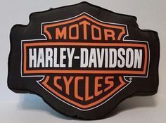 "Harley-Davidson Pillow - Black & Orange Throw Pillow - 15"" x 13""  #HarleyDavidson"