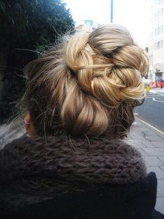 Braided bun city blonde street autumn scarf braid long hair updo bun easy hairstyles