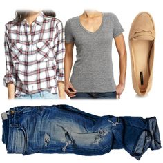 flannel with bf jeans and loafers