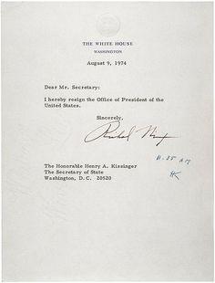 Richard Nixon's resignation letter. - #History #politics