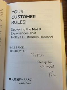 Bill Price - Your Customer Rules! Obtained in-person.