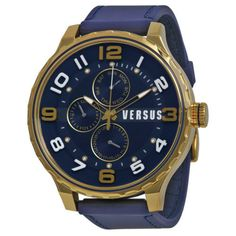 Versus By Versace Globe Multi-function Blue Dial Blue Rubber Mens Watch
