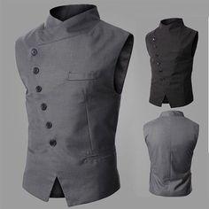 Men's Asymmetrical Button Designed Casual Gilet Jumper Vest Waistcoat Top Jacket #New #BasicCoatVest