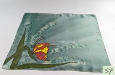 Silk Neckerchief, Small Square Silk Satin Scarf, Hand Painted Scarf with Butterfly, Batik, Green Scarf, Woman Neckerchief Scarf, Mom Gift by SilkFantazi on Etsy