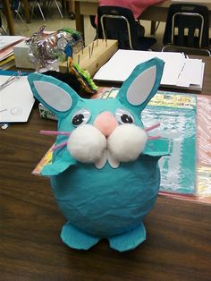 Paper mache bunny made in my classroom